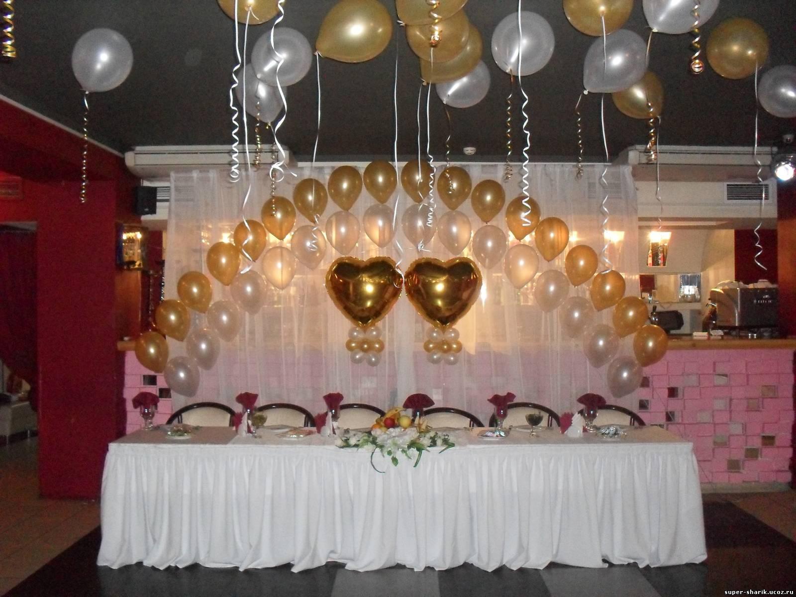 Украшение зала гелевыми шариками фото